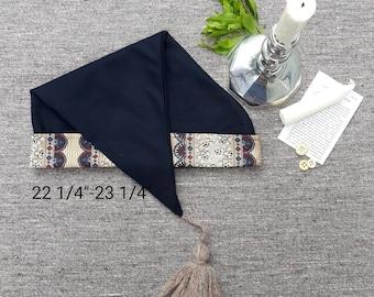 Navy Wool & Cotton Sleeping Cap