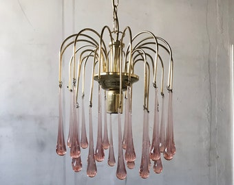 Vintage 1970s Italian Chandelier with Pink Crystal Glass Tear Drop Hangings Venini Mazzega Style