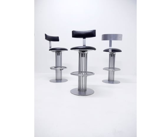 Amazing 1 4 Vintage Postmodern Swivel Bar Stool Steel Base And Black Leather Seat 1980S 1990S From Hotel Casino Gmtry Best Dining Table And Chair Ideas Images Gmtryco