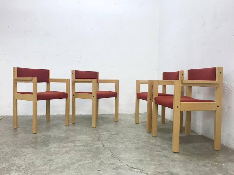 Of modernistische s s houten eetkamer stoelen in rode etsy