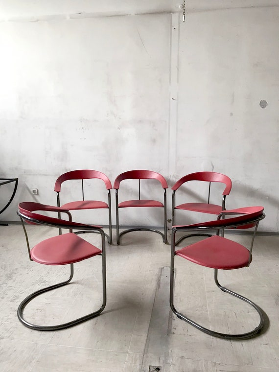Fabulous Italian Red Leather And Tubular Chrome Dining Chairs From The 1980S By Arben Camellatalisay Diy Chair Ideas Camellatalisaycom
