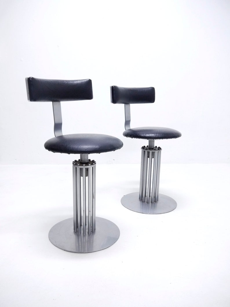 Pleasing 1 3 Vintage Postmodern Swivel Bar Stool Steel Base And Black Leather Seat 1980S 1990S From Hotel Casino Gmtry Best Dining Table And Chair Ideas Images Gmtryco