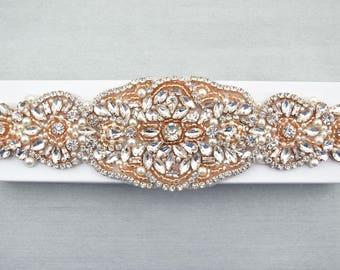 luxury bridal applique Crystal motif Rose gold Rhinestone Applique beaded rose gold gold motifM021 rose gold applique Hotfix Applique
