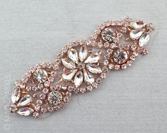 Rose gold Rhinestone Applique, Crystal motif, Hotfix Applique, luxury bridal applique, rose gold applique, beaded rose gold gold motif//M021