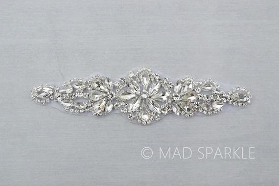 Rhinestone Applique on Metal Settings Wedding Formal Prom Crystal Patch Silver Crystal Glass Rhinestone Motif on Metal Settings QLD13-29