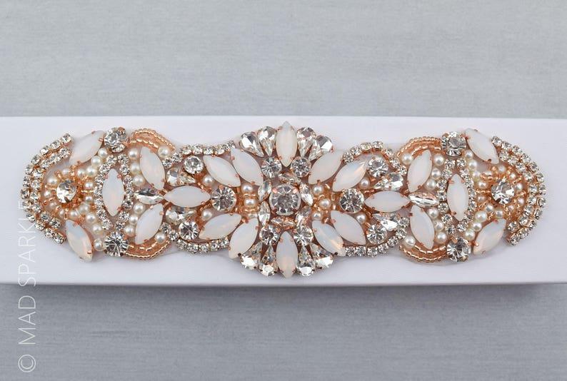 millinery sewing notionsM054 bridal pearl applique Rose Gold Rhinestone Opal Applique rose gold champagne opal bridal trim