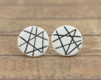 White earrings, Black and white, Unique stud earrings, White studs, Flat earrings, Small stud earrings white, Minimal earrings, Modern studs