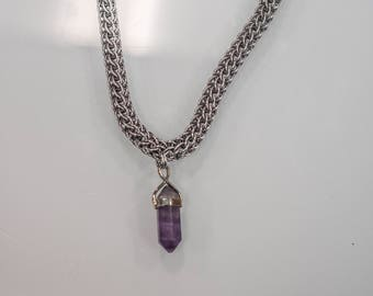 Braided Chain Necklace With Amethyst Pendant