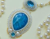 Pearls Necklace Fairy Cosplay Tudor Necklace 18th Century Victorian Medieval Ren fairy Nautical Blue Bijoux Renaissance Natural stone