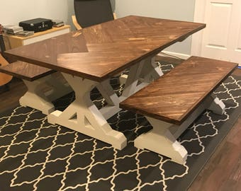Herringbone Farmhouse Trestle Table Set