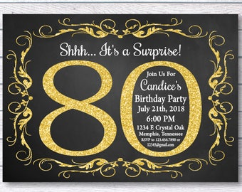 80th Birthday Invitation For Her Shhh Its A Surprise Girl Gold Chalkboard