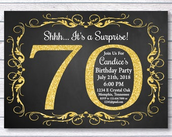 70th Birthday Invitation For Her Shhh Its A Surprise Girl Gold Chalkboard