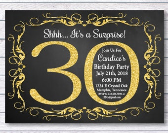 Surprise 30th Birthday Invitation For Her Party Girl Gold Chalkboard