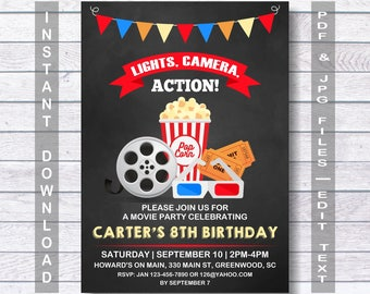 movie birthday invitation movie invitation instant download movie night invitation movie party invitation movie party