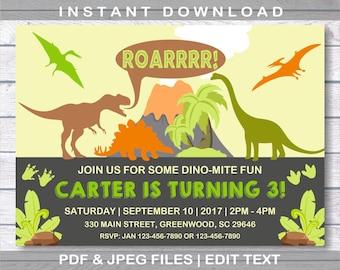Dinosaur Invitation Etsy Party Invitations