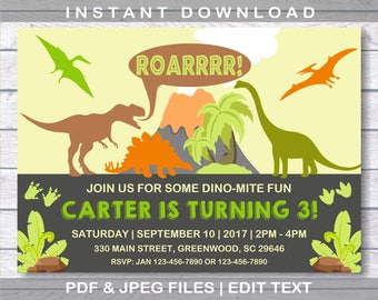 Dinosaur Birthday Invitation INSTANT DOWNLOAD Party