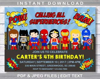 Superhero Invitation Birthday INSTANT DOWNLOAD Superheroes Comic Party Editable