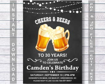 Its A Surprise Instant Download 30th Birthday Men For Man Mens Invitation Beer