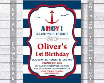 Nautical Invitation Etsy Birthday Invitations