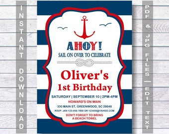 Nautical Birthday Invitation Ahoy Red Blue Navy And Party Instant Download