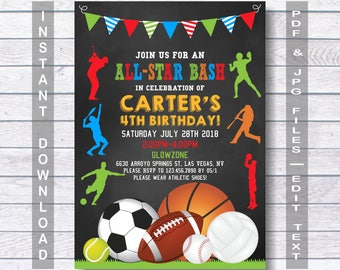 Sports Birthday Invitation Sport Party Invite Boys Invitations Instant Download