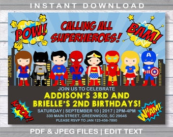 Superhero Invitation Birthday INSTANT DOWNLOAD For Two Kids Names And Ages 2