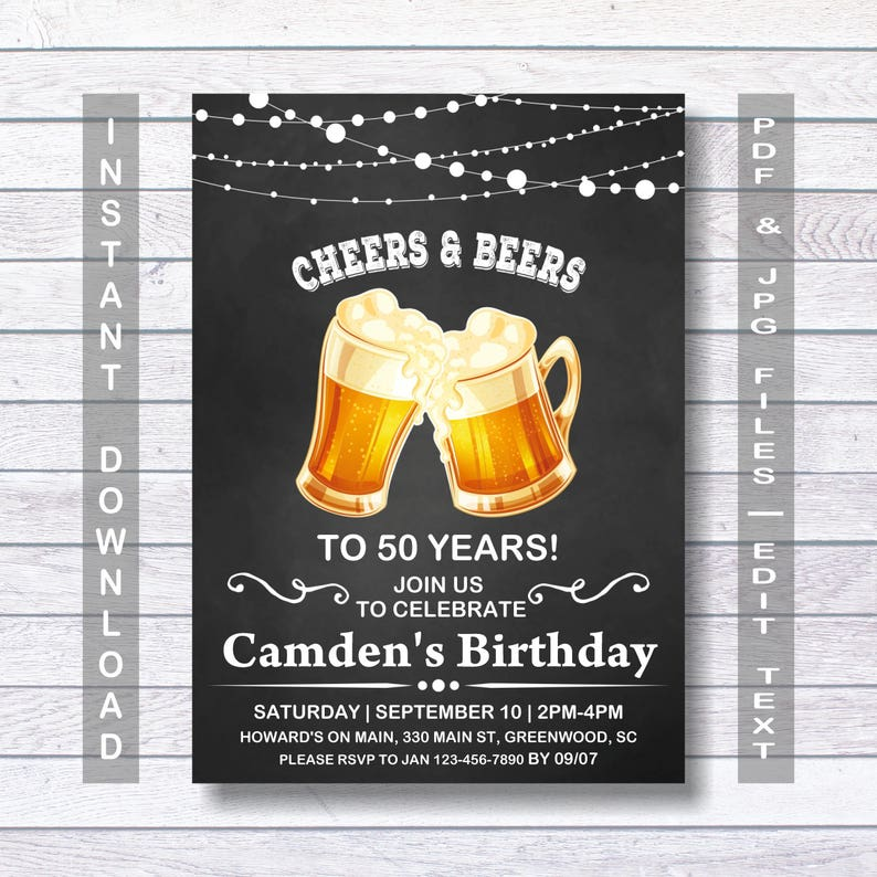 50th Birthday Invitation Its A Surprise Instant Download For Him Men Man Mens Beer