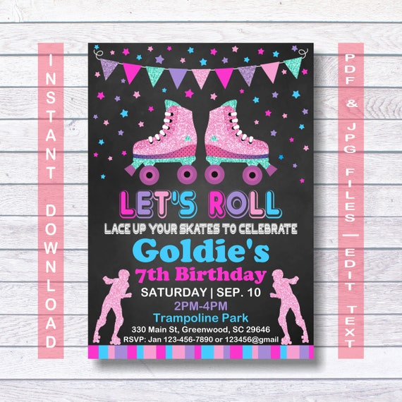 roller skate invitation roller skating invitation instant etsy