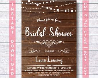Bridal Shower Invitation, Instant Download, RUSTIC Bridal Shower Invitation, Bridal Shower Invite, Bridal Shower Invites, Rustic Wedding