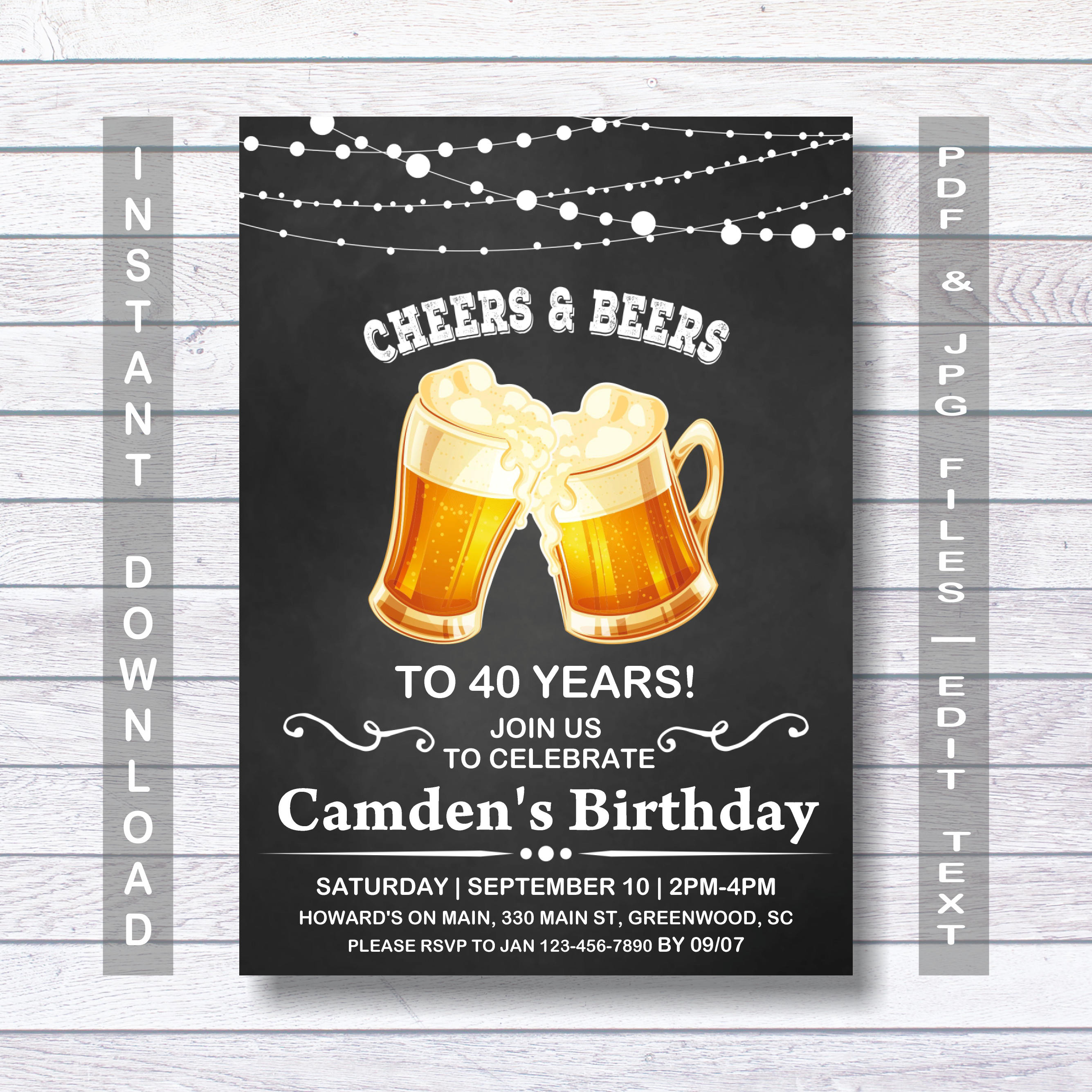 40th Birthday Invitation Shhhh Its A Surprise Instant Download Menfor Him For Man Mens