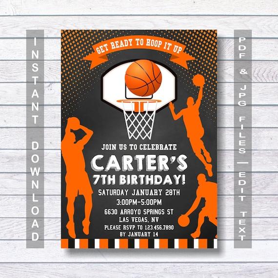 basketball invitations basketball birthday invitation etsy