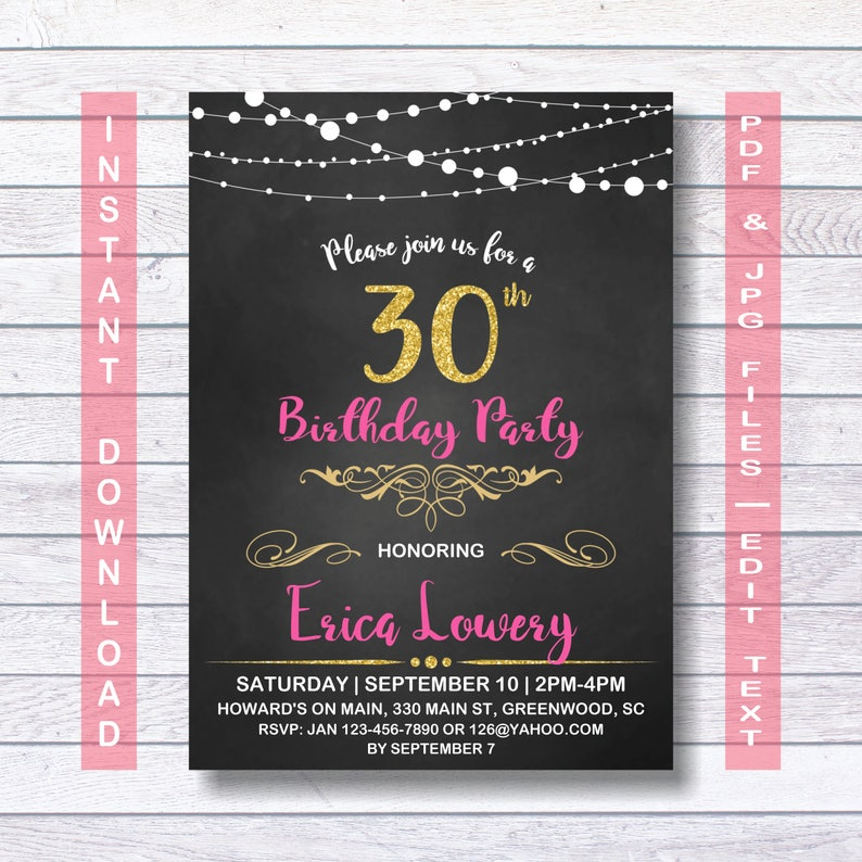 30th Birthday Invitation Gold Pink Instant Download