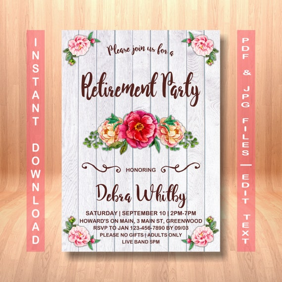 retirement party invitation instant download rustic etsy