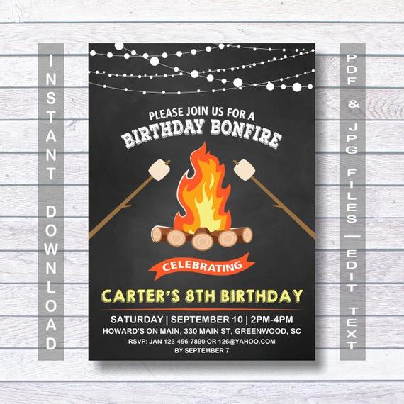 Bonfire Invitation Party INSTANT DOWNLOAD Birthday Printable Backyard