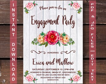 Floral Engagement Party Invitation, Instant Download, RUSTIC Engagement Party Invitation, Engagement Party Invitation, Engagement Party