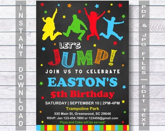 Jump Birthday Invitation, Jump Invitation, for boy, INSTANT DOWNLOAD, Bounce house invitation, Trampoline party, Let's Jump, Jump Party