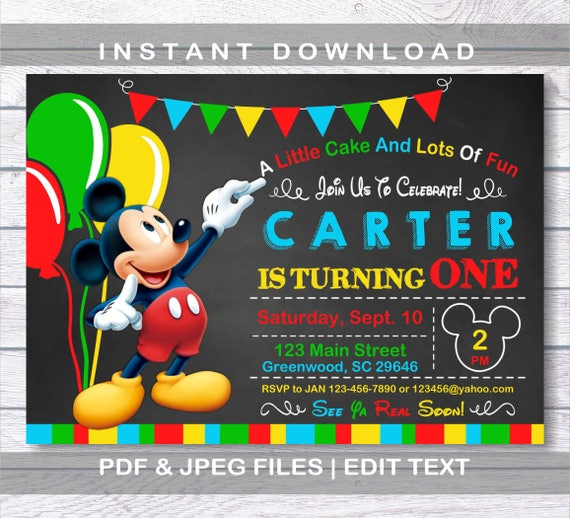 Mickey Mouse Invitations Birthday Invitation Instant Download First Party