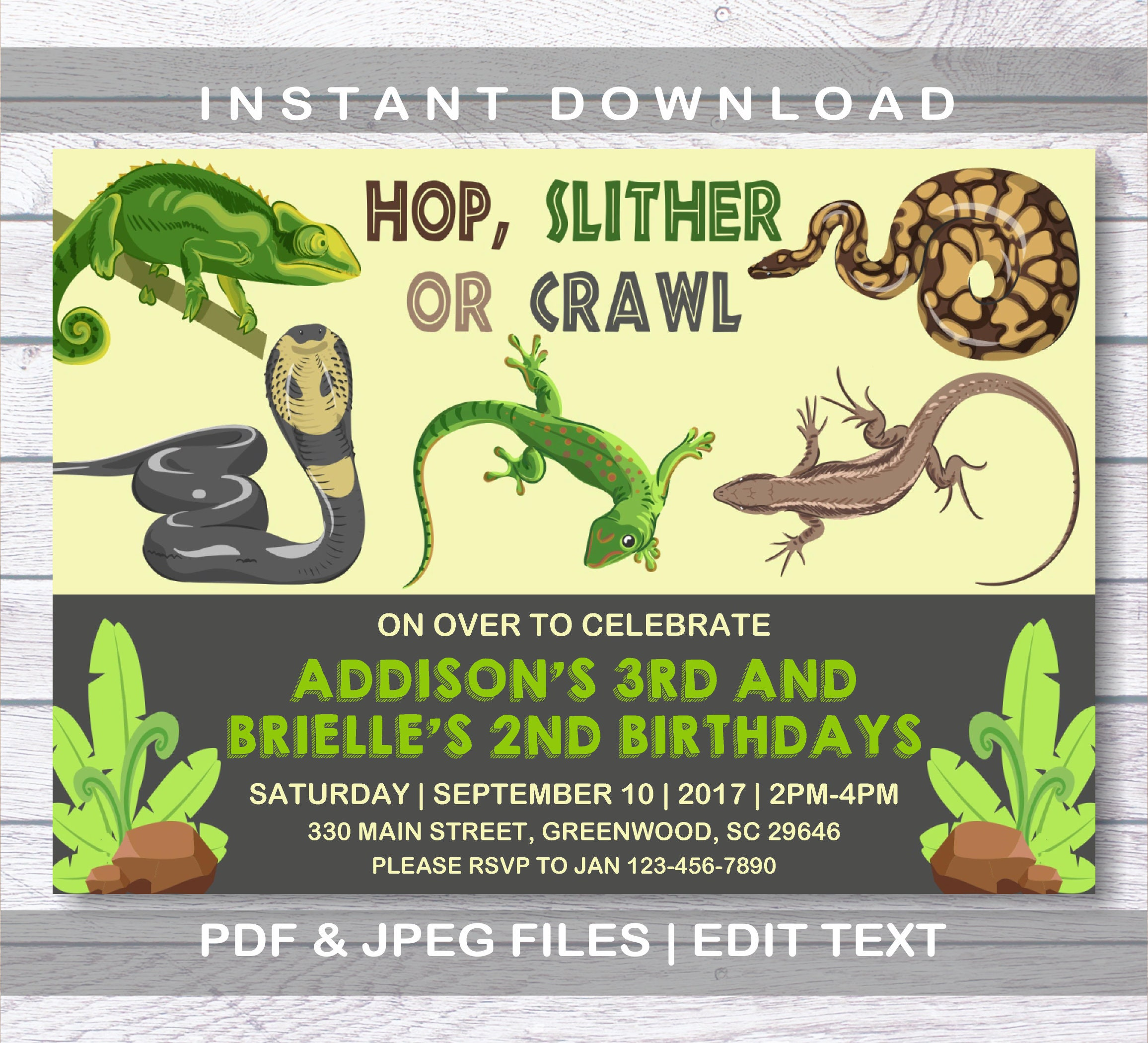 Reptile invitation two names reptile birthday invitation etsy zoom filmwisefo