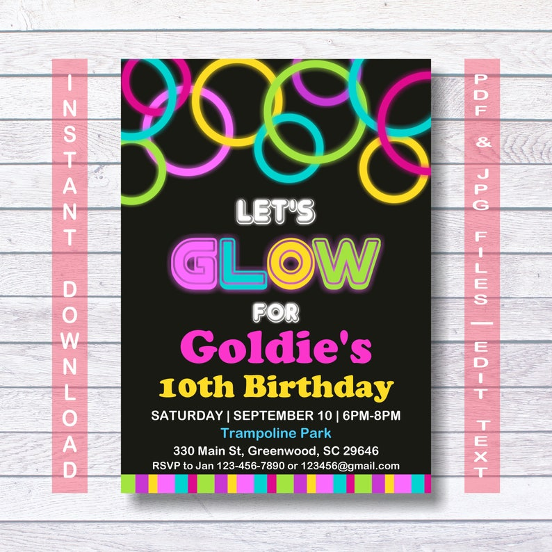 Glow Party Invitations Neon Invitation Template Instant Download Birthday In The Dark Lets