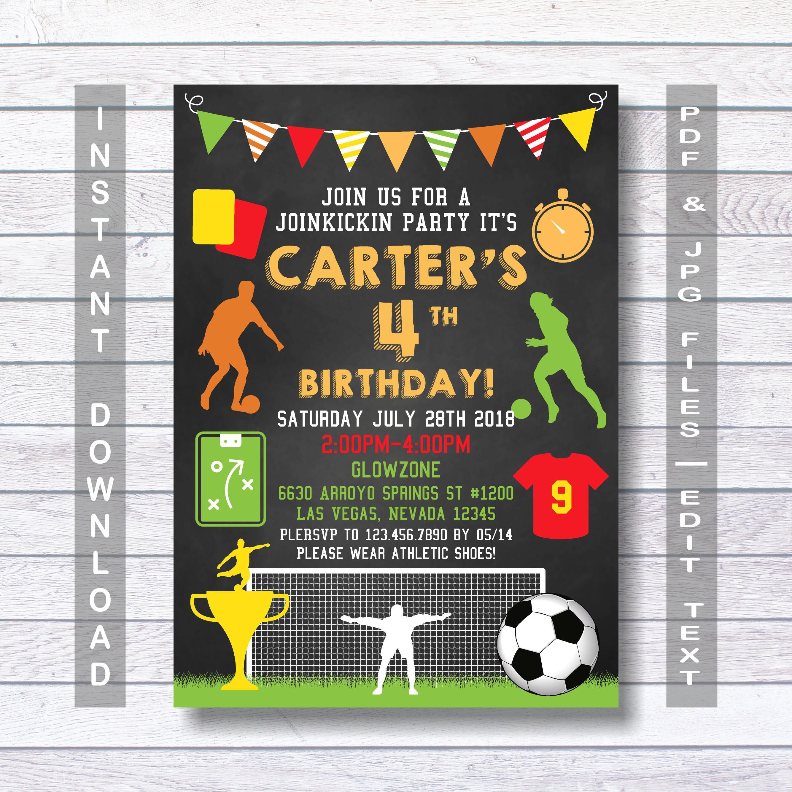 soccer invitations soccer birthday invitation soccer etsy