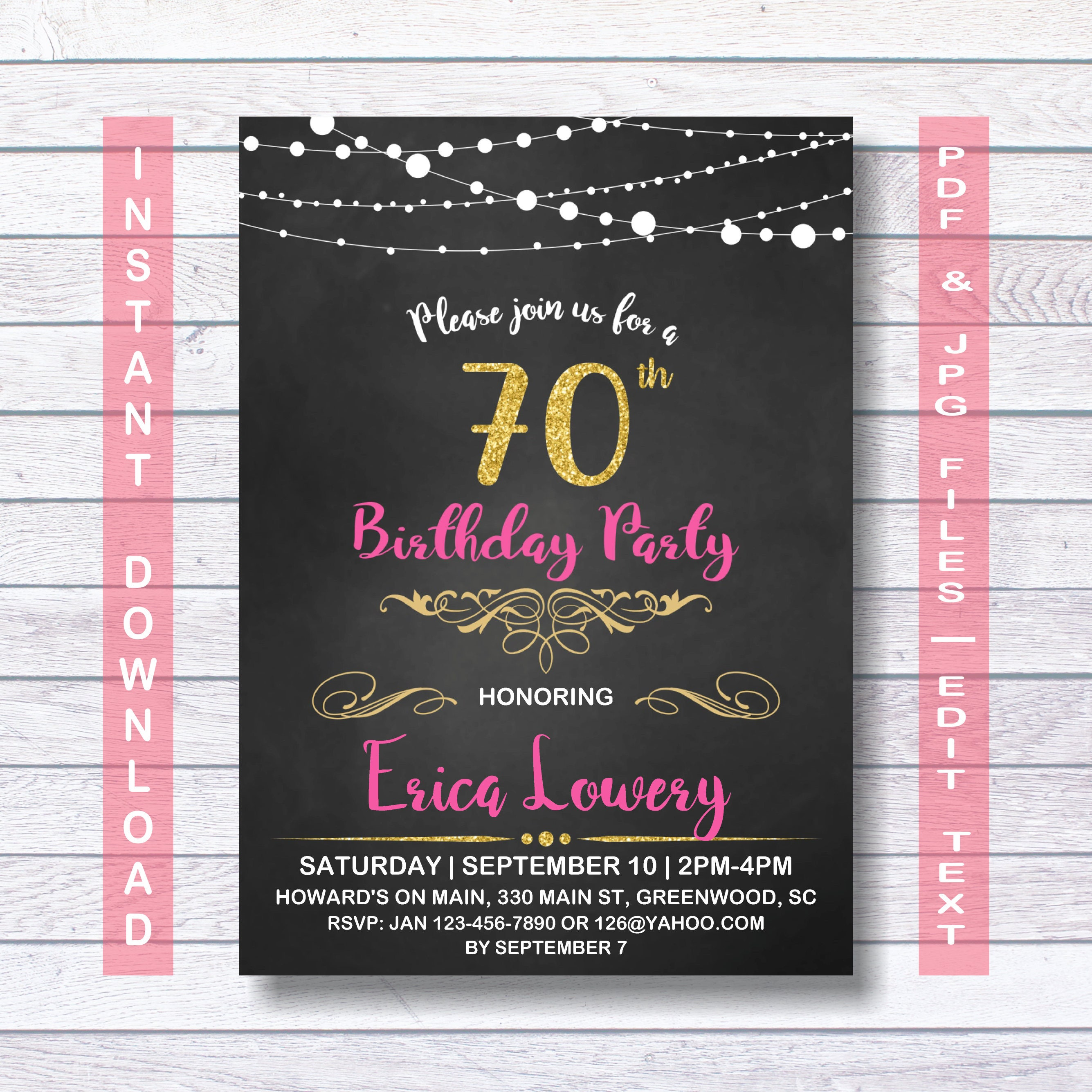 70th Birthday Invitation Gold Pink Instant Download
