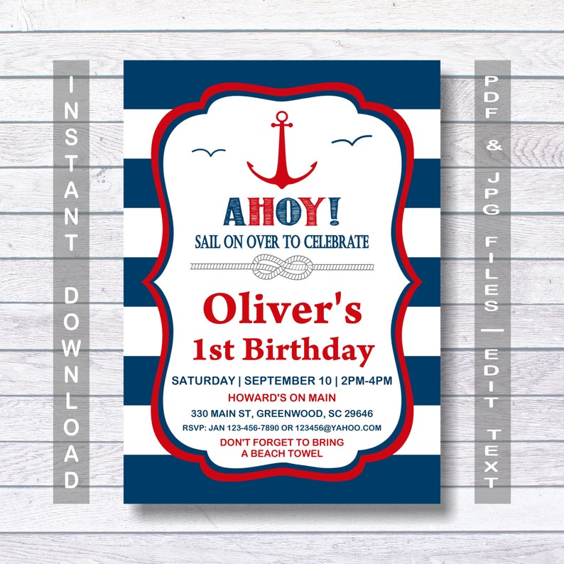 Nautical Birthday Invitation Ahoy Red
