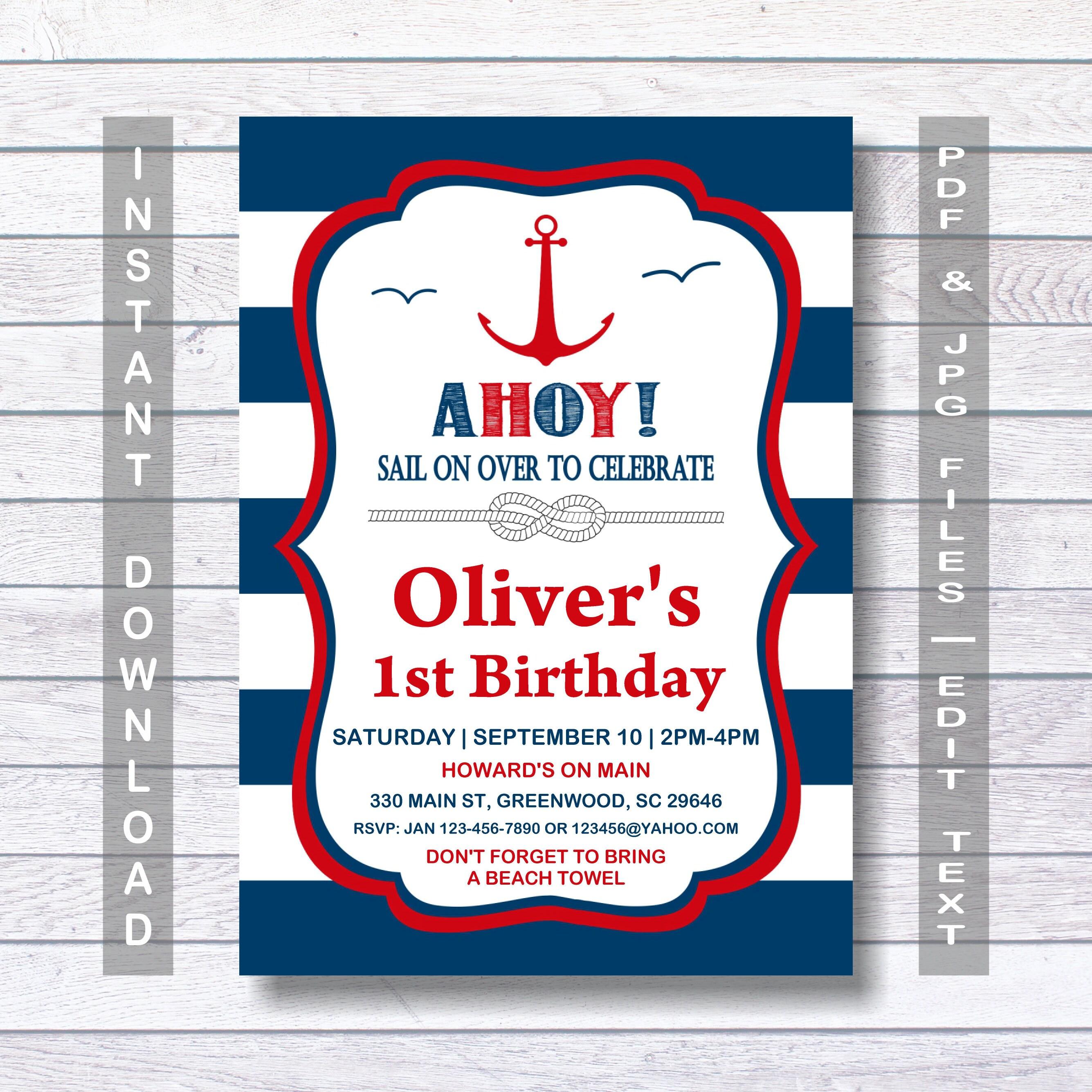 Nautical Birthday Invitation Nautical Invitation Ahoy Red & | Etsy