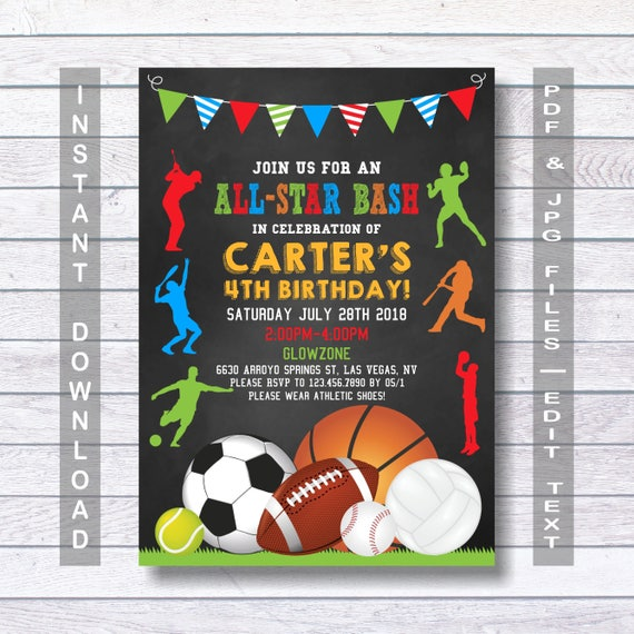 Sports Birthday Invitation Sport Party Invite Sports Etsy
