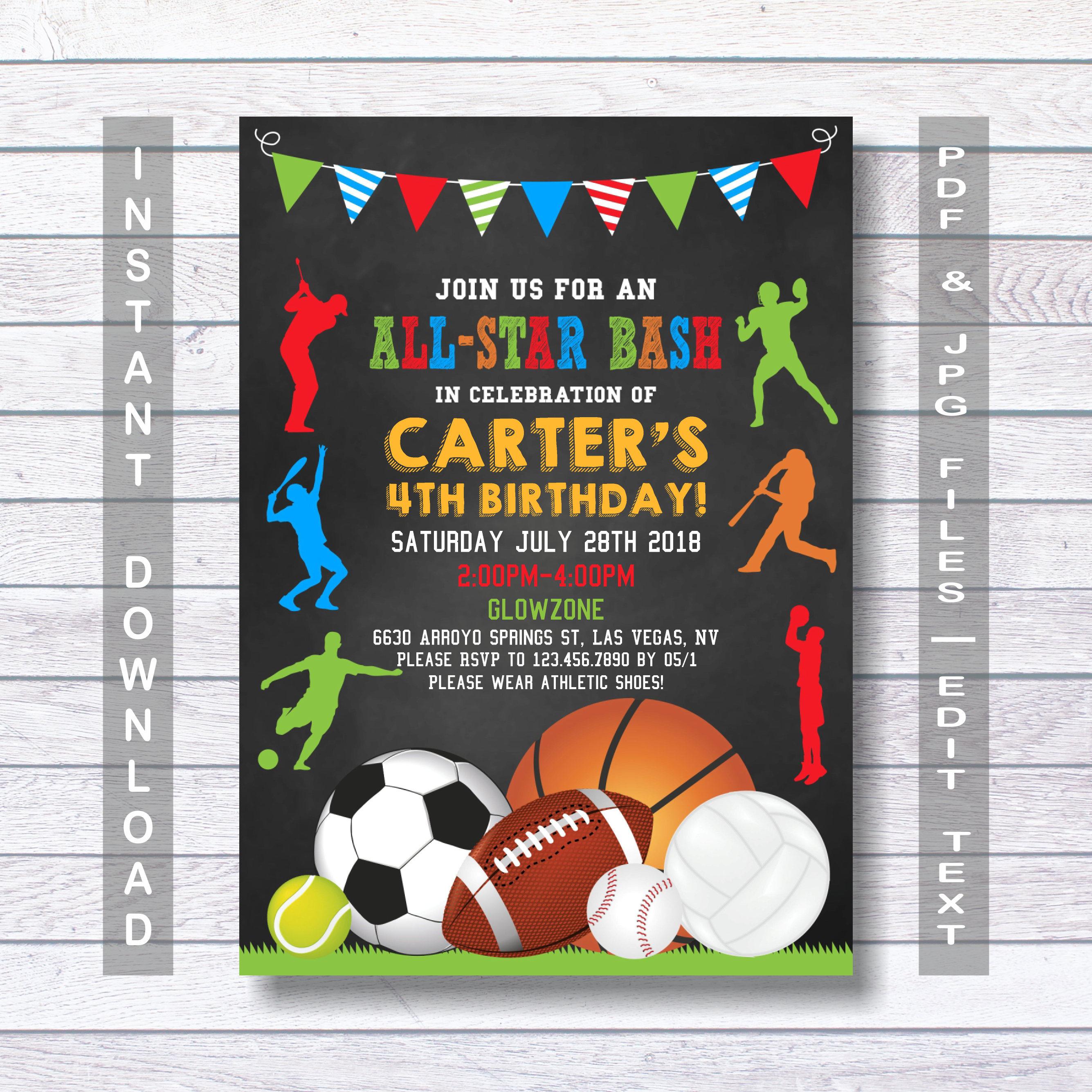 sports birthday invitation sport party invite sports etsy