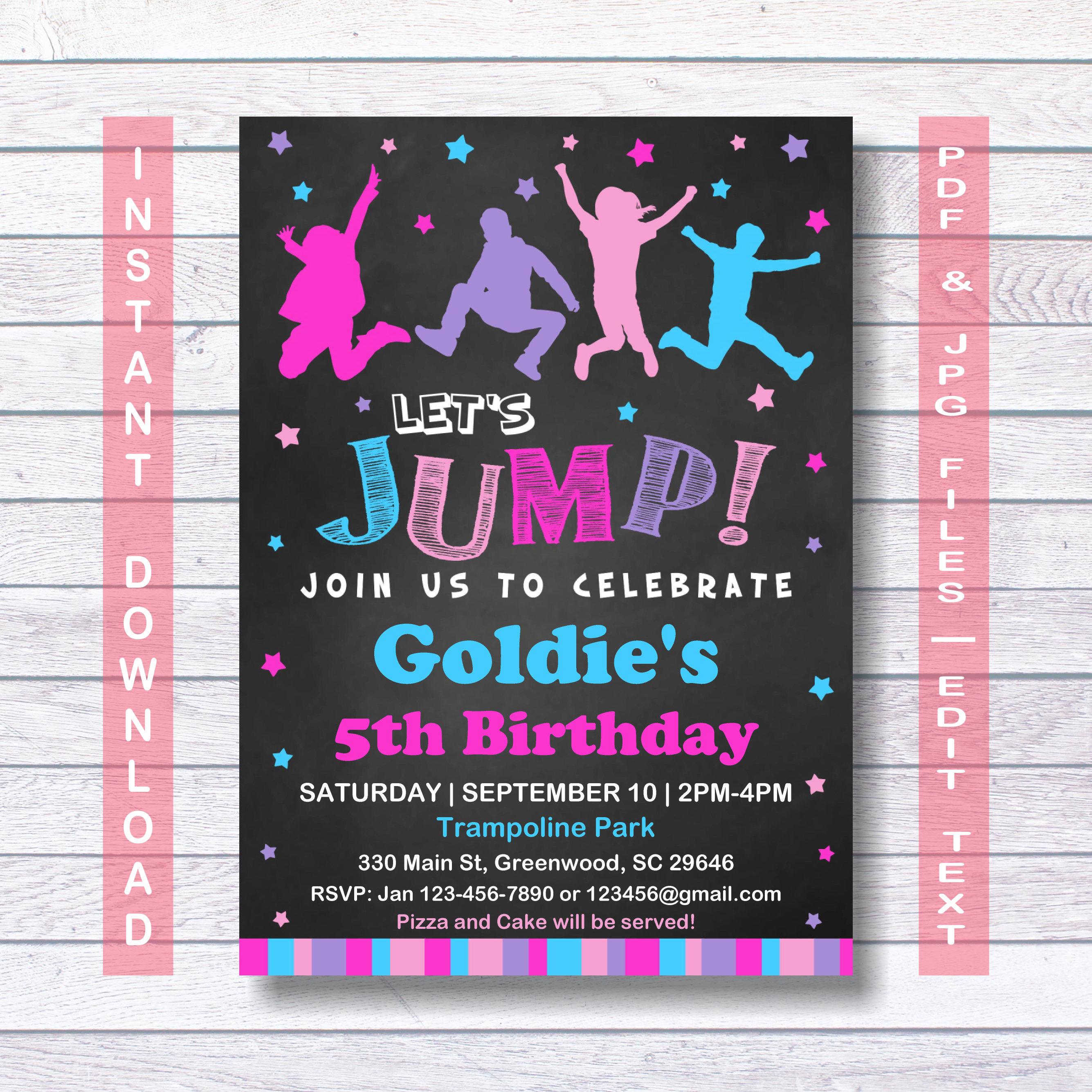 Jump Birthday Invitation INSTANT DOWNLOAD