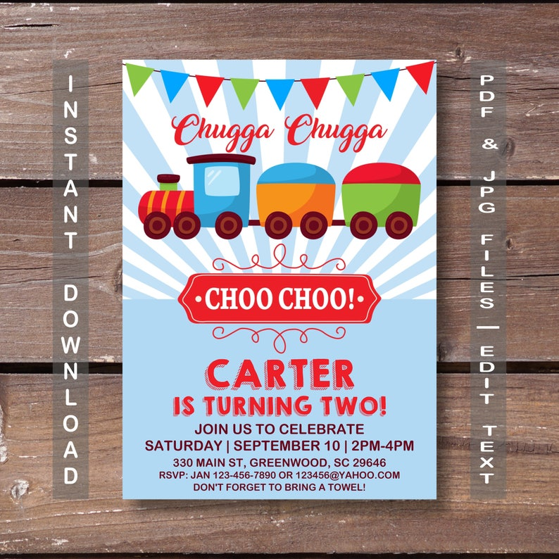 Train Invitation Birthday INSTANT DOWNLOAD