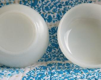 Vintage Glasbake milk glass small bowl with lug handle soup