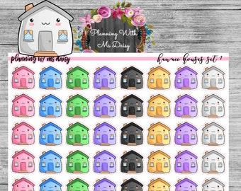 Kawaii House Stickers // Planner Stickers // Matte, Glossy, Premium Matte