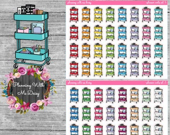 Planner Cart Stickers (Choose from 2 color sets)